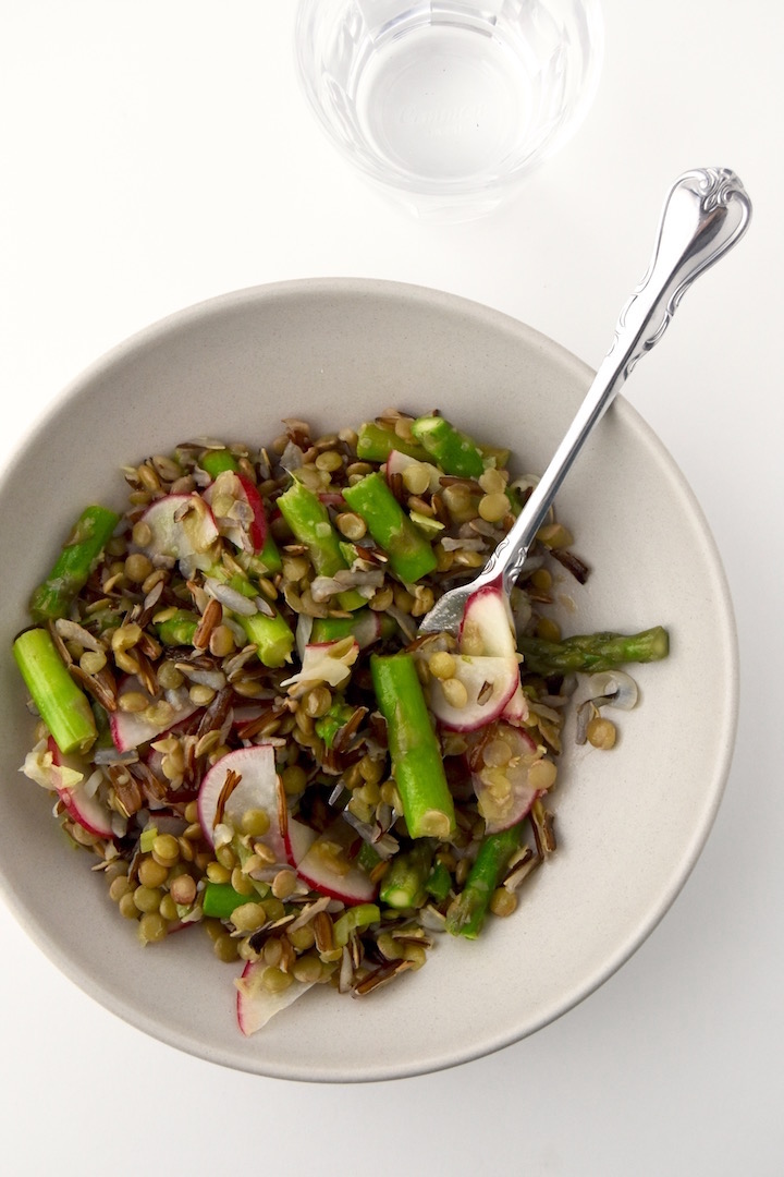Spring Lentil and Wild Rice Salad with lemon
