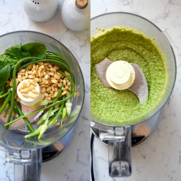 Making Garlic Scape Pesto - steps