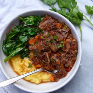 Slow Cooker Beef Ragu over Polenta