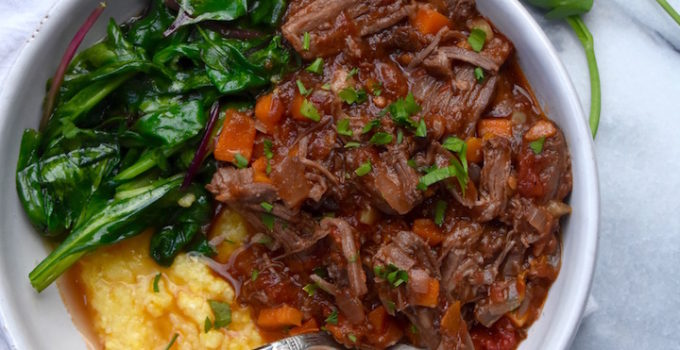 Slow Cooker Short Rib Ragu with Polenta and Wilted Greens