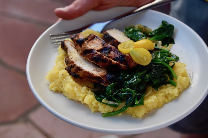 Grilled Balsamic Chicken with polenta and greens | uprootkitchen.com