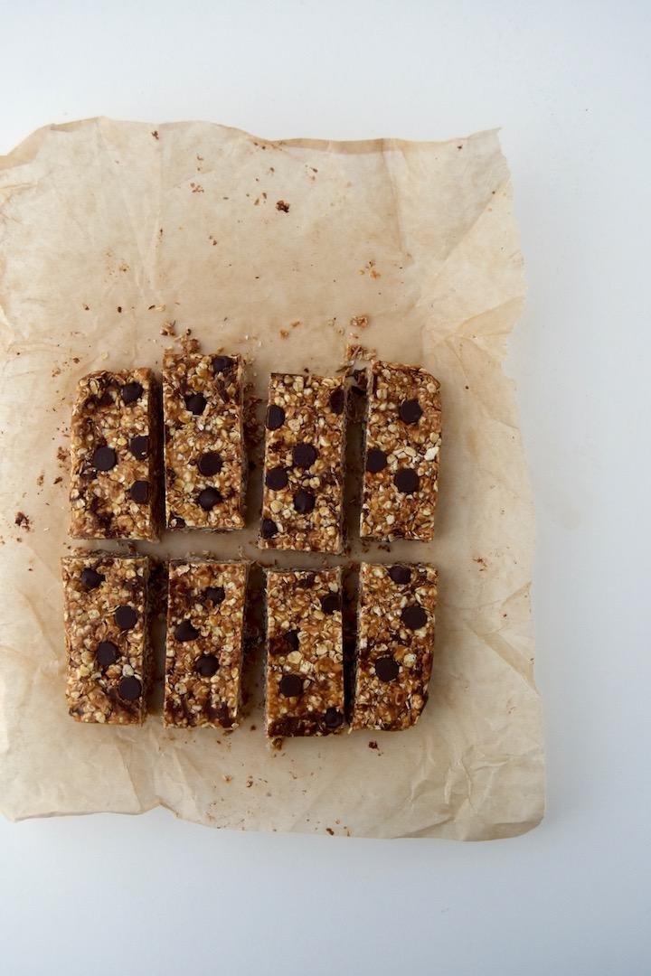 Simple 4 Ingredient Peanut Butter Chocolate Chip Granola Bars