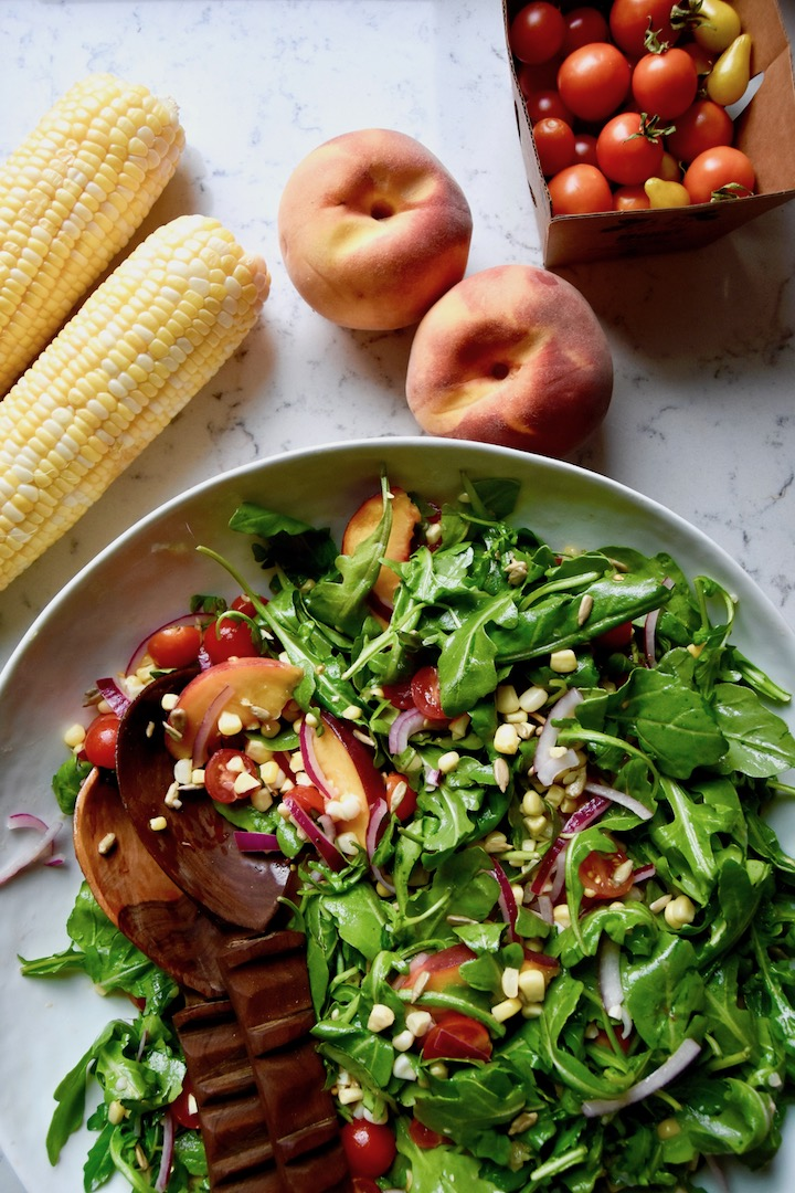 Summer Arugula Salad with Tomatoes Peaches and Corn