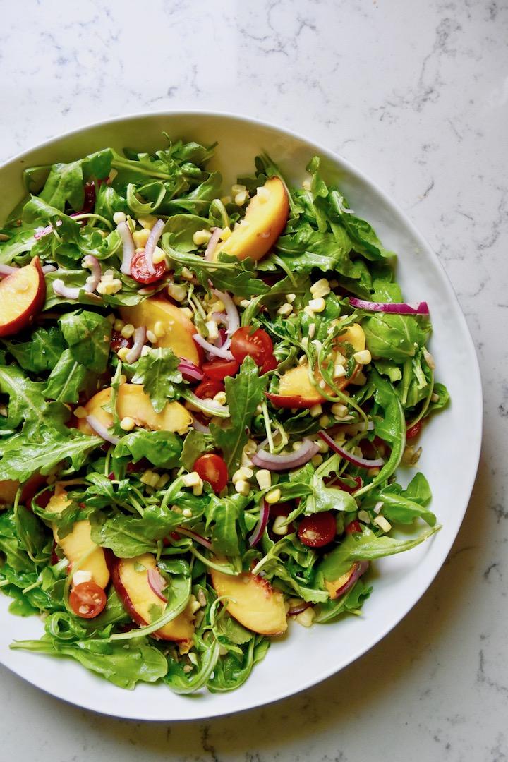 Summer Arugula Salad With Peaches And Corn Recipe