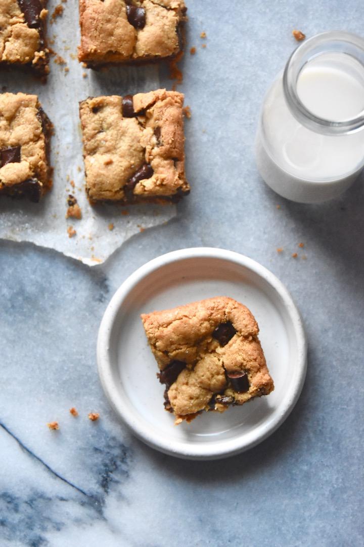 Flourless Nut Butter Cookie Bars | uprootkitchen.com