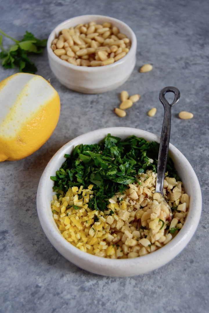 Gremolata with Lemon Peel, Parlsey and Pine Nuts _ uprootkitchen.com