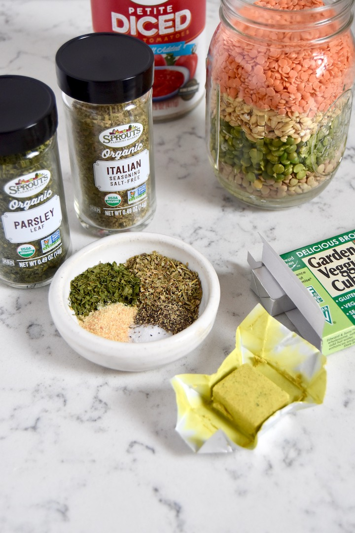 Lentil and Barley Soup Mix with seasonings | uprootkitchen.com